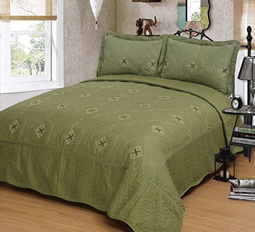 Mk Collection Olive Green 3pc Bedspread Coverlet Embroidery Quilt Set (King) (Green Quilt compare prices)