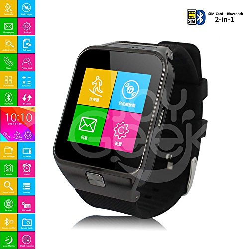 Smart Watch,JoyGeek All-in-1 Bluetooth Watch Phone Mate For iOS Apple iPhone and Android SmartPhones(Black)
