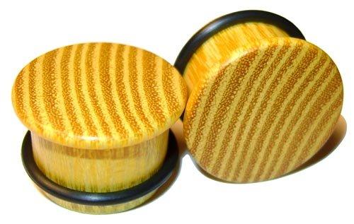 42mm Organic Striped Osage Orange Single Top Hat Exotic Wood Plugs
