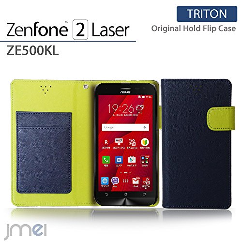 ZenFone2 Laser ZE500KL カバー jmeiオリジナルホールドフリップカバー TRITON ネイビー 楽天モバイル simフリー ASUS エイスース ゼンフォン 2 レーザー スマホケース 手帳型 スマートフォン ケース