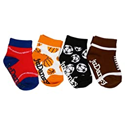 juDanzy baby boy sporty 4-Pack socks in soccer, football, basketball & baseball (2-4 Years)