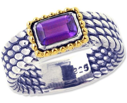 Sterling Silver and 14K Octagon Gemstone Full Bead-Detailed Ring-Amethyst-in full,half,quarter sizes from 5 to 9_7.75