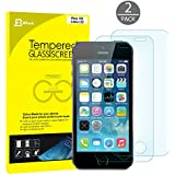 iPhone 5s Screen Protector, JETech® 2-Pack Premium Tempered Glass Screen Protector Film for iPhone 5/5s/5c