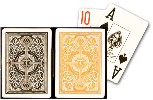 KEM Arrow Black and Gold Poker Size Jumbo Index Playing Cards