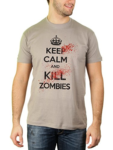 Keep calm and kill Zombies - T-shirt da uomo di gatto Likoli Grigio chiaro XXXL