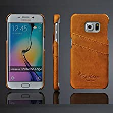 buy [For Samsung Galaxy S6 Edge ] Arcraft(Tm) Luxury Genuine Leather Ultra Slim / Slip Card Holder / Premium Bright Leather Wallet Case Cover