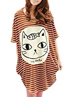 Allegra K Women Casual Striped Batwing Sleeve Oversize Tunic Tops T-shirts