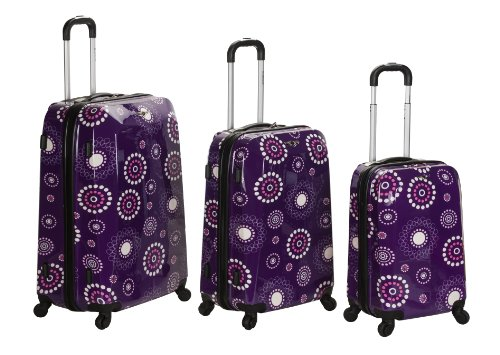 Rockland Luggage Vision Polycarbonate 3 Piece Luggage Set, Purple Pearl, One Size special offers