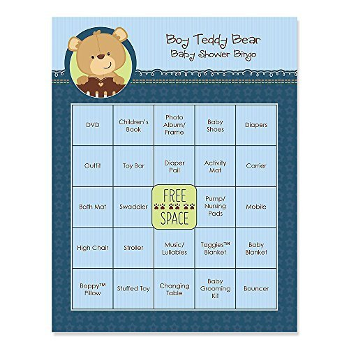 Baby Boy Teddy Bear - Baby Shower Game Bingo Cards - 16 Count (Teddy Bear Theme compare prices)