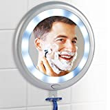 Fogless LED Shower Mirror With 12 Bright Lights, 3 Suction Cups & Batteries