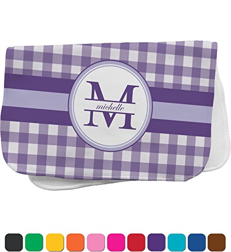 Purple Gingham Personalized Burp Pad front-638786
