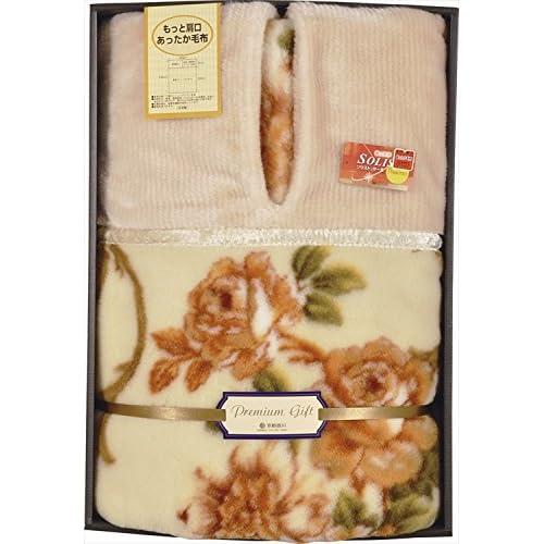 京都西川 もっと肩口あったか毛布 ベージュ 【毛布 寝具 温かい 伝統 あったか寝具 衿くりタイプ 掛け毛布 ファブリック】