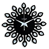 Random Wooden Jewel Leaf 12 Inches Black Wall Clock(30x30)Cm