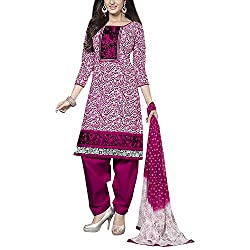 Varsha Women Cotton Dress Material (Varsha4163 _White & Pink _16)