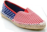 Patriotic Red White Blue Stars Fabric Espadrille Slip-on Loafer Womens Flats