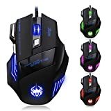 [T80 New Version] DLAND Zelota LED ottici professionali 7200 DPI 7 Pulsante USB Wired Gaming Mouse Gamer mouse regolabile DPI Switch Funzione 7200DPI /5500DPI/ 3200DPI / 2400 DPI / 1600 DPI / 1000 DPI per Pro Notebook Gioco PC del computer portatile