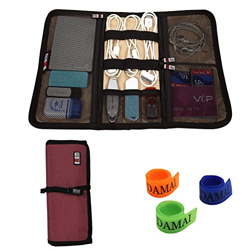 BUBM Portable Universal Wrap Electronics Accessories Travel Organizer / Hard Drive Bag / Cable Stable with Cable Tie (Medium-Wine Red) (Mesh Bag Inserts compare prices)
