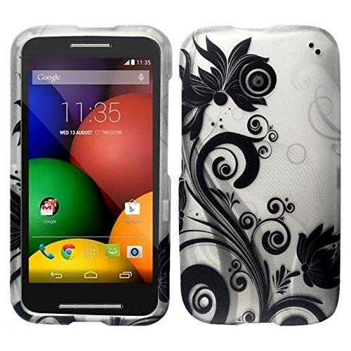 Zizo Rubberized Design Hard Snap-On Cover For Motorola Moto E - Retail Packaging - Black Vines