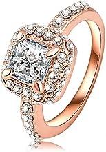 Comprar AnaZoz Joyería de Moda Forma Cuadrado Zircon Anillo de Boda Para Mujer 18K Chapado en Oro Rosa Genuino SWA Elements Cristal Austria Anillo 21*22mm