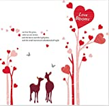 Asmi Collection PVC Wall Stickers Wall Decals pink Tree with pretty Heart and Deer
