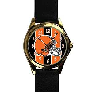 Time Walker Boys Easy to Read NFL Cleveland Browns Display Analogue Black Dial Analog Quartz Watch