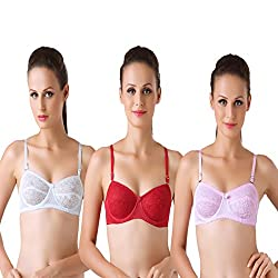 Bodyline Lacy Wired Multi Occasional Non Padded White Maroon and Pink Bra