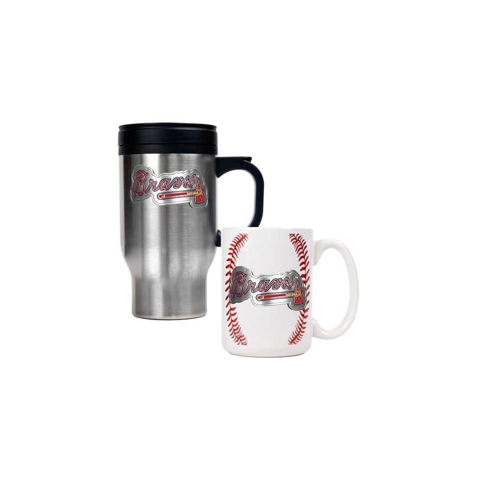 Atlanta Braves MLB Stainless Steel Travel Mug & Gameball Ceramic Mug Set   Primary Logo