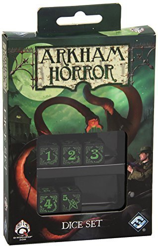 Black Green Arkham Horror Dice, Set of 5