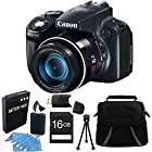 Canon PowerShot SX50 HS 12.1 MP Digital Camera with 50x Wide-Angle Optical Image Stabilized Zoom Premiere Bundle W/ 16 GB Secure Digital High-Capacity (SDHC) Mem. Card