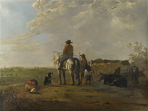 Oil Painting 'Aelbert Cuyp A Landscape With Horseman Herders And Cattle ' Printing On High Quality Polyster Canvas , 16
