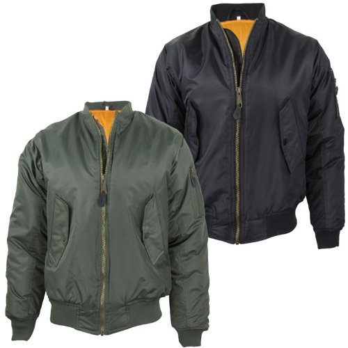 Mens MA1 Flight Bomber Jacket/ Coat Military Air Force - Olive [Small]