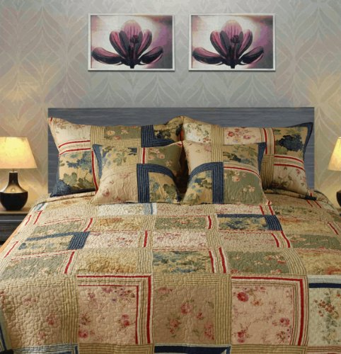 Tache Exotic 100% Cotton Japanese Emperor'S Garden Quilt Set-King back-463868