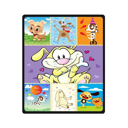 "Personalized Cute Dogs Jigsaw Blanket 50""X 60""(Medium) front-968313"