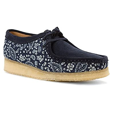 Clarks Womens Wallabee Moccasin Blue Paisley Combi Size 6