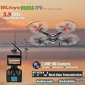Wltoys V686G 6 軸ジャイロ 2.4G 4CH FPV(空撮 生中継 動画)5.8G リアルタイム UFO RC ラジコン ドローン クアッドコプター マルチコプター 2.0MP カメラ搭載 ワンキーリターン CFモード【並行輸入品】