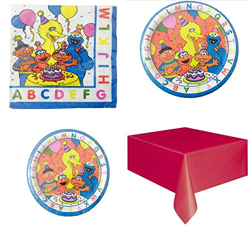 Sesame Street Party Pack for 8 Guests (Sesame Street Party Big Bird Lunch Napkins)
