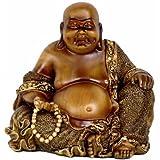 Oriental Furniture Good Best Simple Unique Good Luck Housewarming Gift Idea, 6-Inch Small Sitting Happy Buddha Faux Bronze Statue Figure