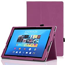 buy Moko Sony Xperia Z4 Tablet Case - Slim Folding Cover Case For Sony Xperia Z4 Tablet 10.1 Inch Andriod 5.0 Device, Purple