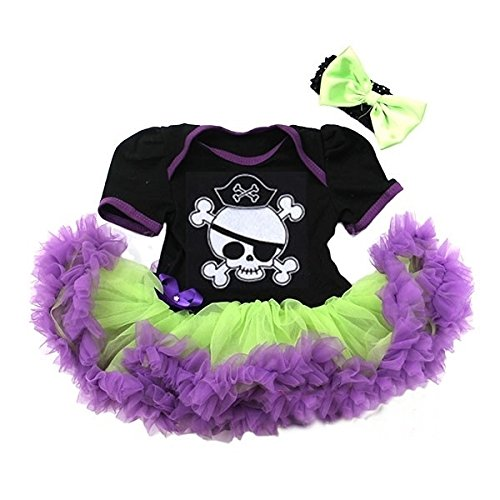 Black Lime Green Purple Halloween Baby Pirate Bodysuit Pettiskirt and Headband