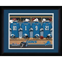 NFL Personalized Locker Room Print Black Frame Customized Detroit Lions 13 X 16 by You