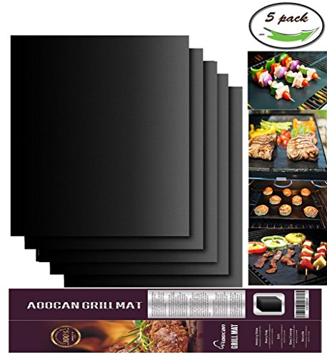 Aoocan Grill Mat Set of 5- 100% Non-stick BBQ Grill & Baking Mats - FDA-Approved, PFOA Free, Reusable and Easy to Clean - Works on Gas, Charcoal, Electric Grill and More - 15.75 x 13 Inch (Bbq Mate Grill Set compare prices)