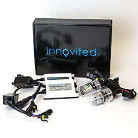 "Innovited AC 55W HID Xenon Conversion Kit With ""Slim"" ballast - 9006 - 6000K - 2 Bulbs & 2 Ballasts"