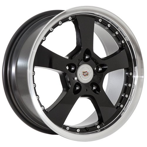 17 Cadillac Wheels Rims Black  Machined Lip (set 
