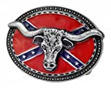 Bull Horns Head Rebel Flag Belt Buckle Western Oval