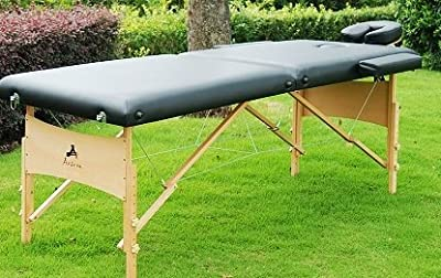 "HomCom 2"" Portable Folding Massage Table w/ Carrying Case - Black"