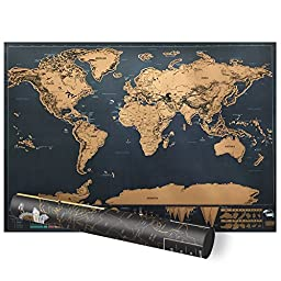 Scratch World Map, Proboths Portable Travel World Mini Scratch Map Luxury Black World Wall Map