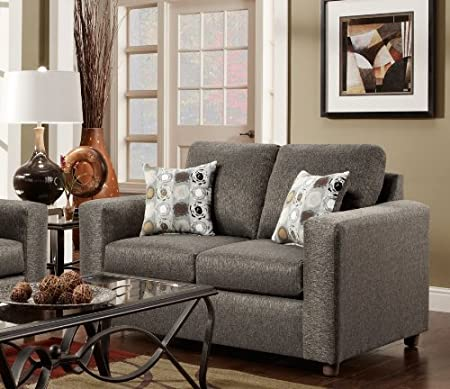 Roundhill Furniture Fabric Loveseat with 2 Pillows, Vivid Onyx