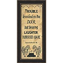 Trouble Hurried Away-Sign-Primitive-Framed Art Print