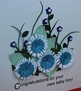 Handmade Quilling : Congratulations on Your New Baby Boy! Card