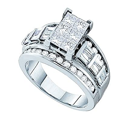 3.00 Carat (ctw) 14K White Gold Princess, Baguette And Round White Diamond Invisible Engagement Ring 3 CT